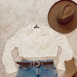 Tops - White Blazer-Cropped
